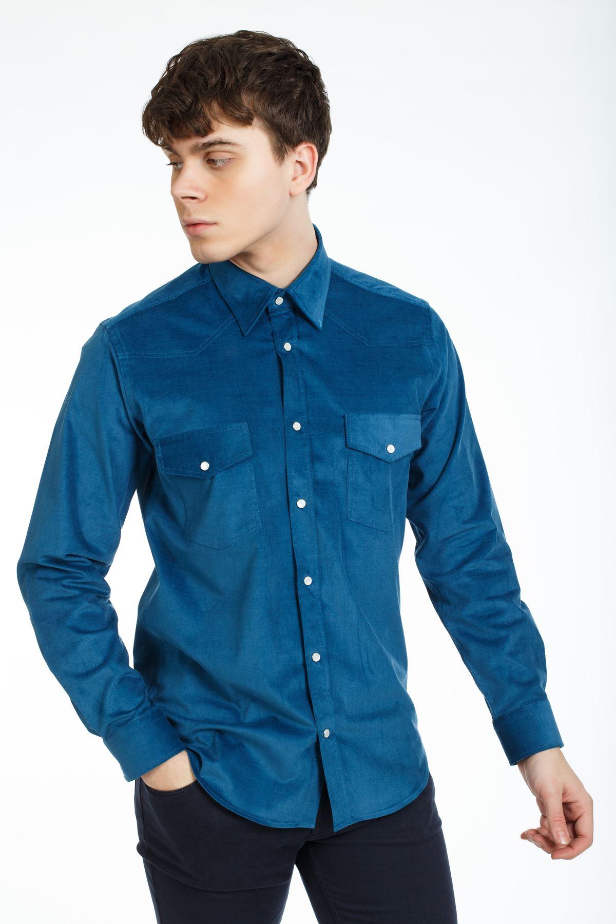 İndigo Renk Çıt Çıtlı Regular Kalıp Spor Gömlek