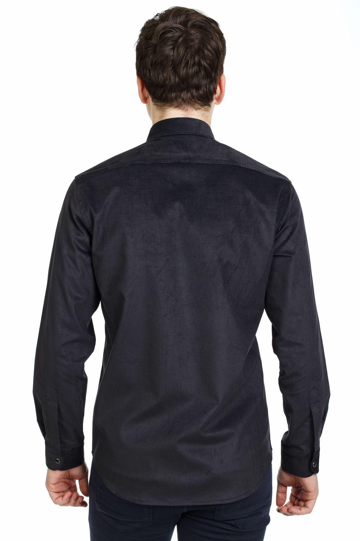 Füme Renk Çıt Çıtlı Regular Kalıp Spor Gömlek