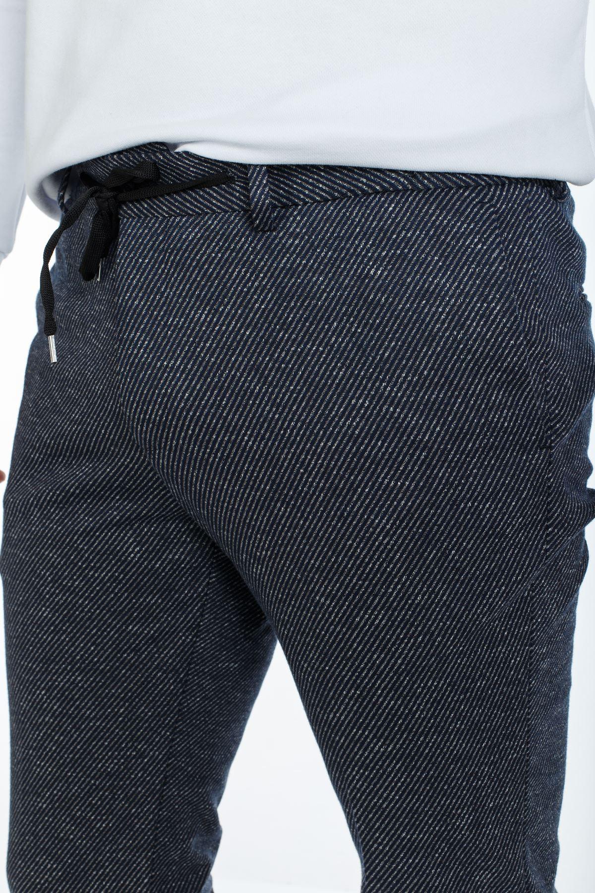 Lacivert Desenli Süper Slim Kalıp Jogger Pantolon