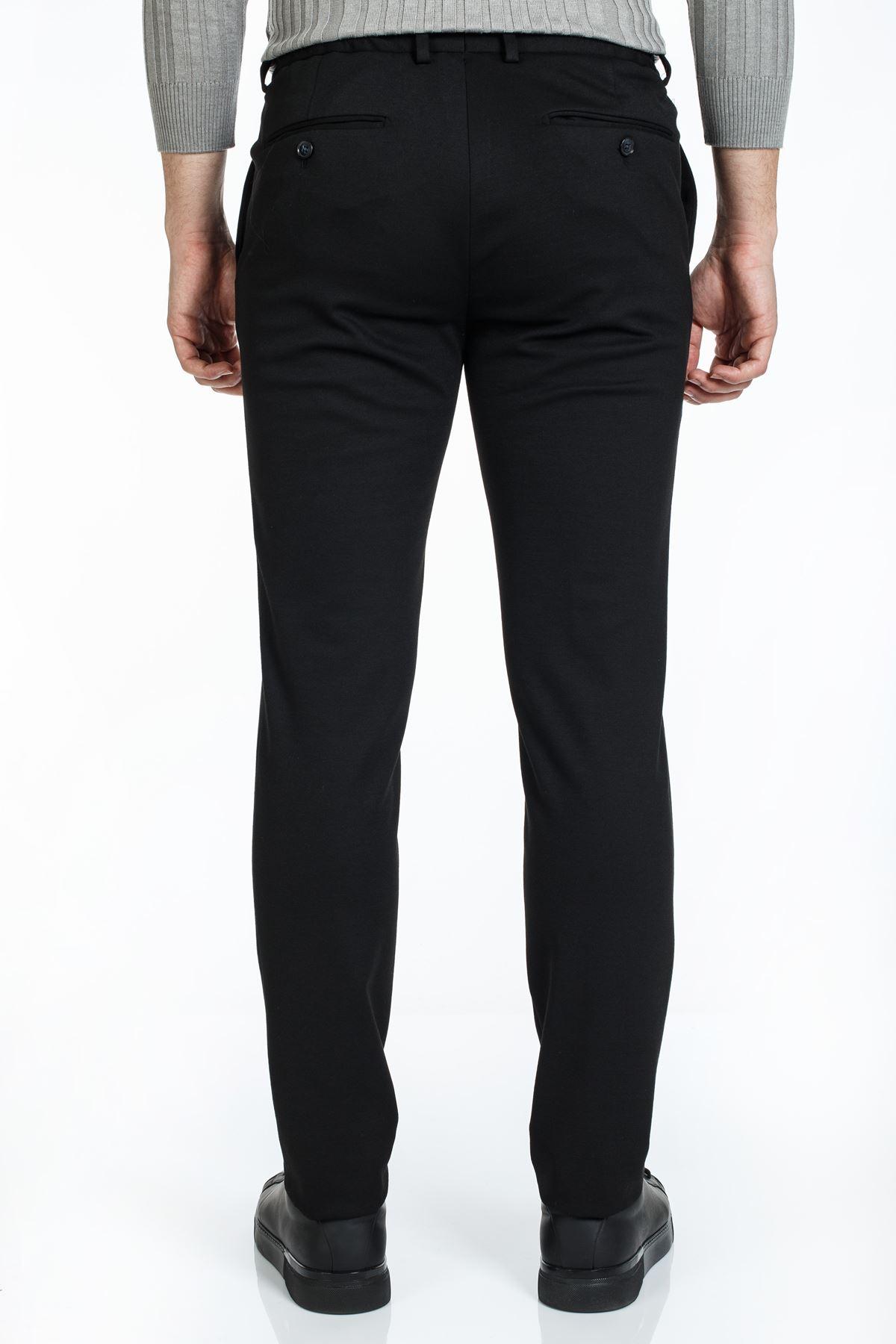 Siyah Süper Slim Kalıp Örme Jogger Pantolon