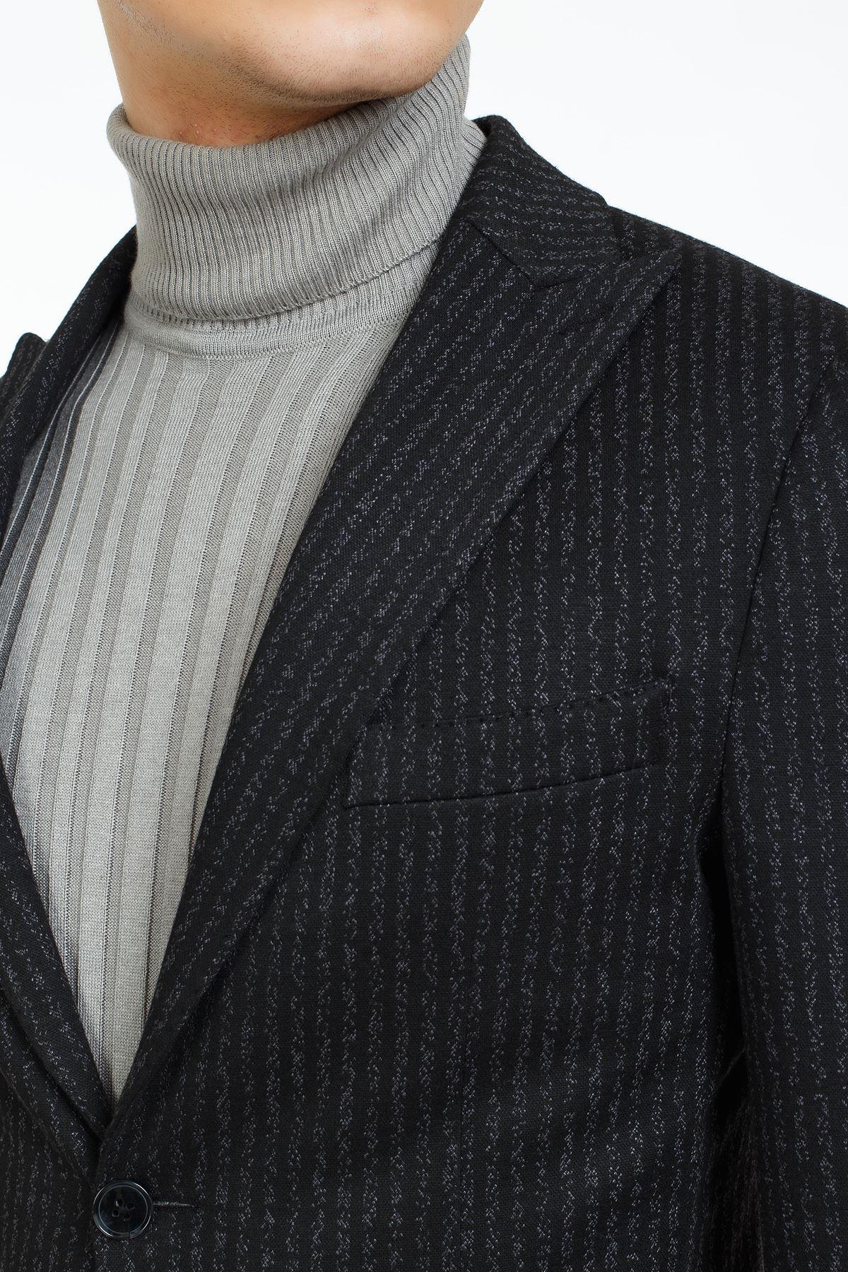 Siyah Beyaz Çizgili Süper Slim Kalım Ceket