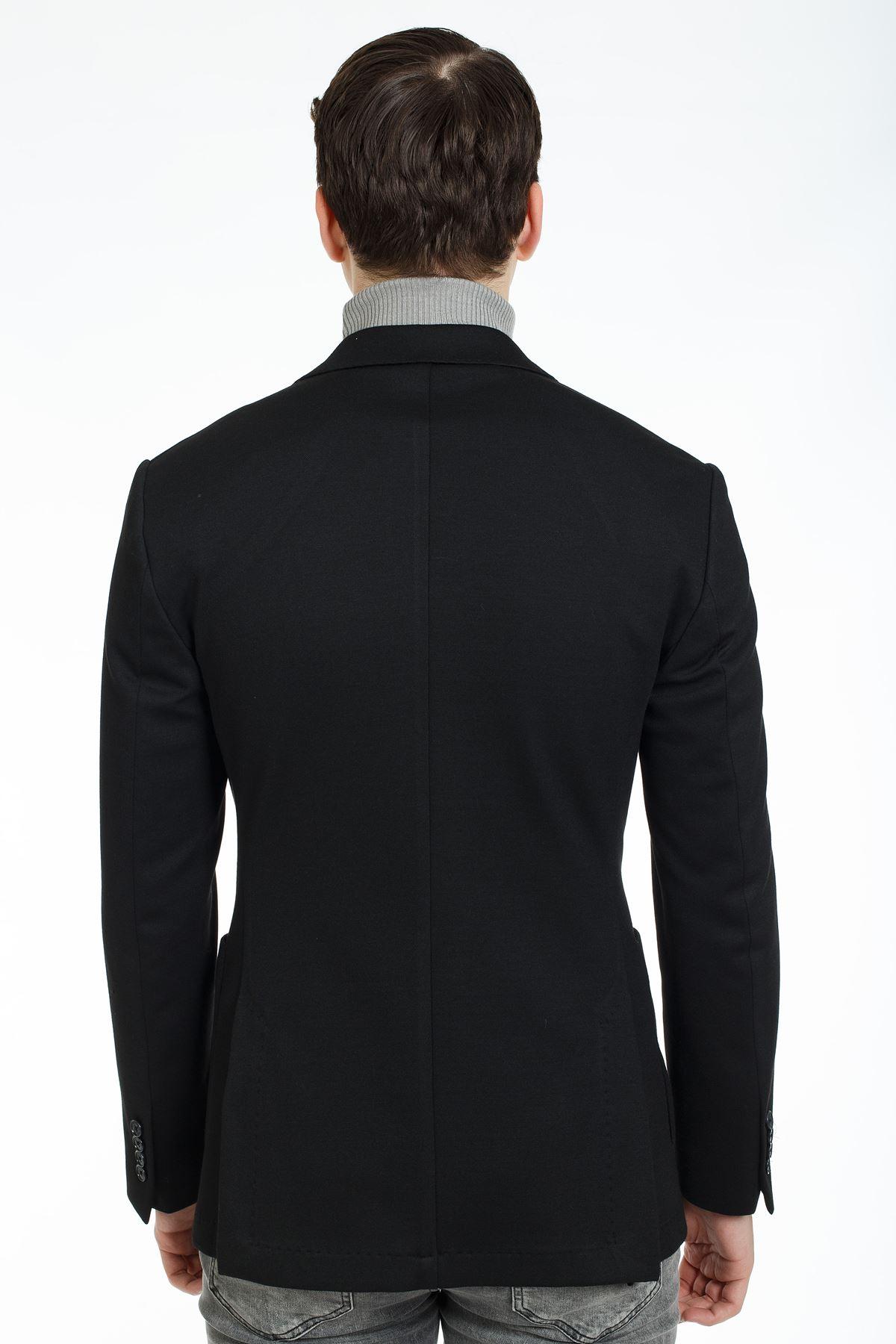 Siyah Örme Kumaş Süper Slim Kalıp Spor Ceket