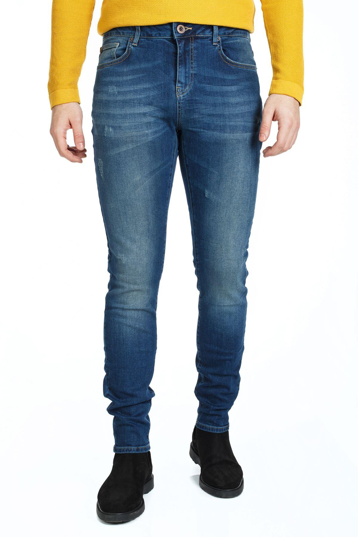 Mavi Renk Slim Kalıp Denim Kot Pantolon