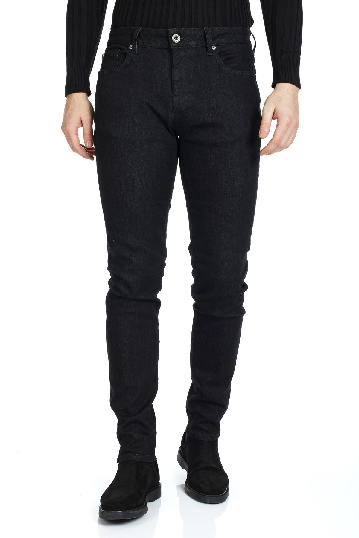Siyah Renk Slim Kalıp Denim Kot Pantolon