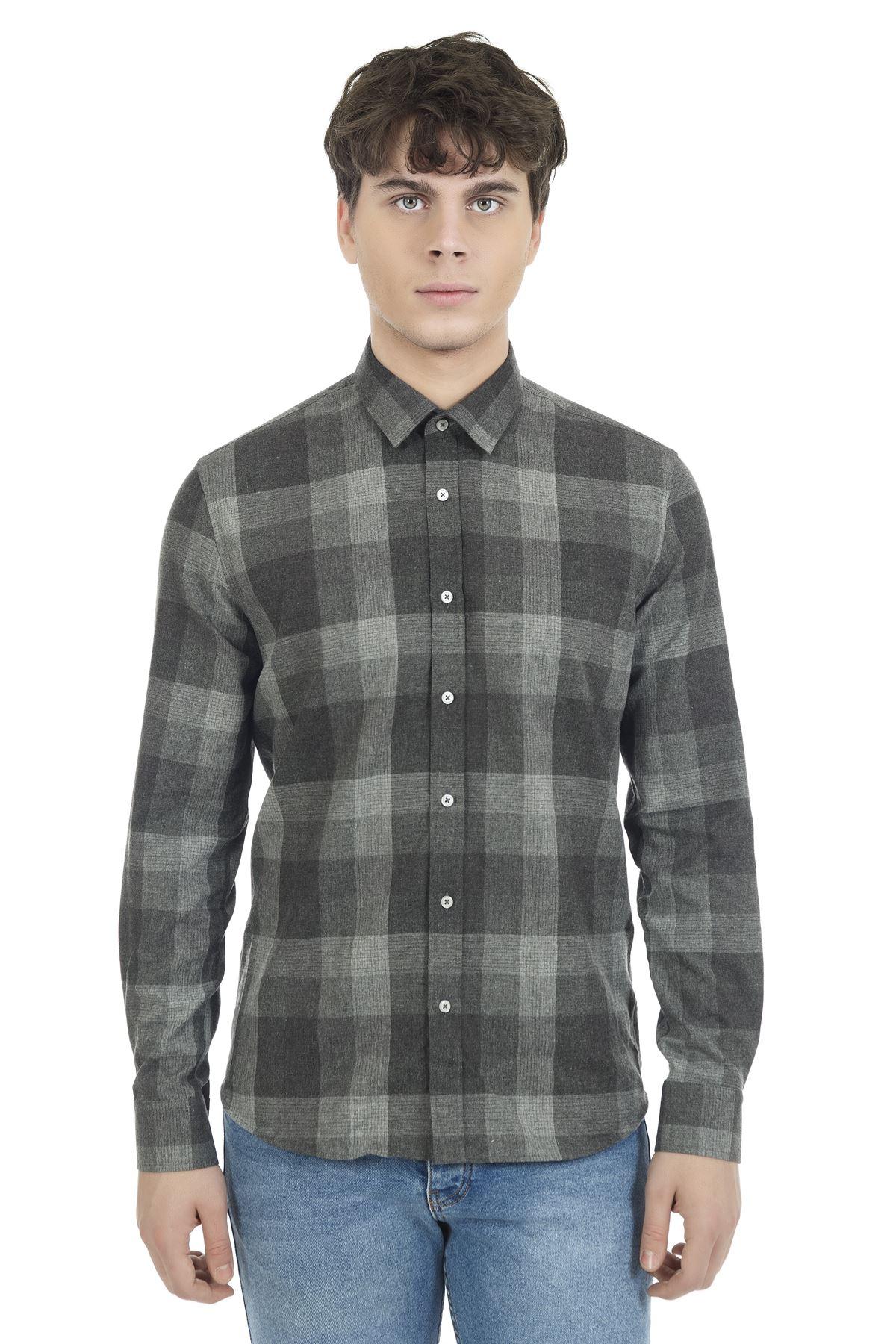 Antrasit Gri Efektli Uzun Kol Flanel Ekose Gömlek