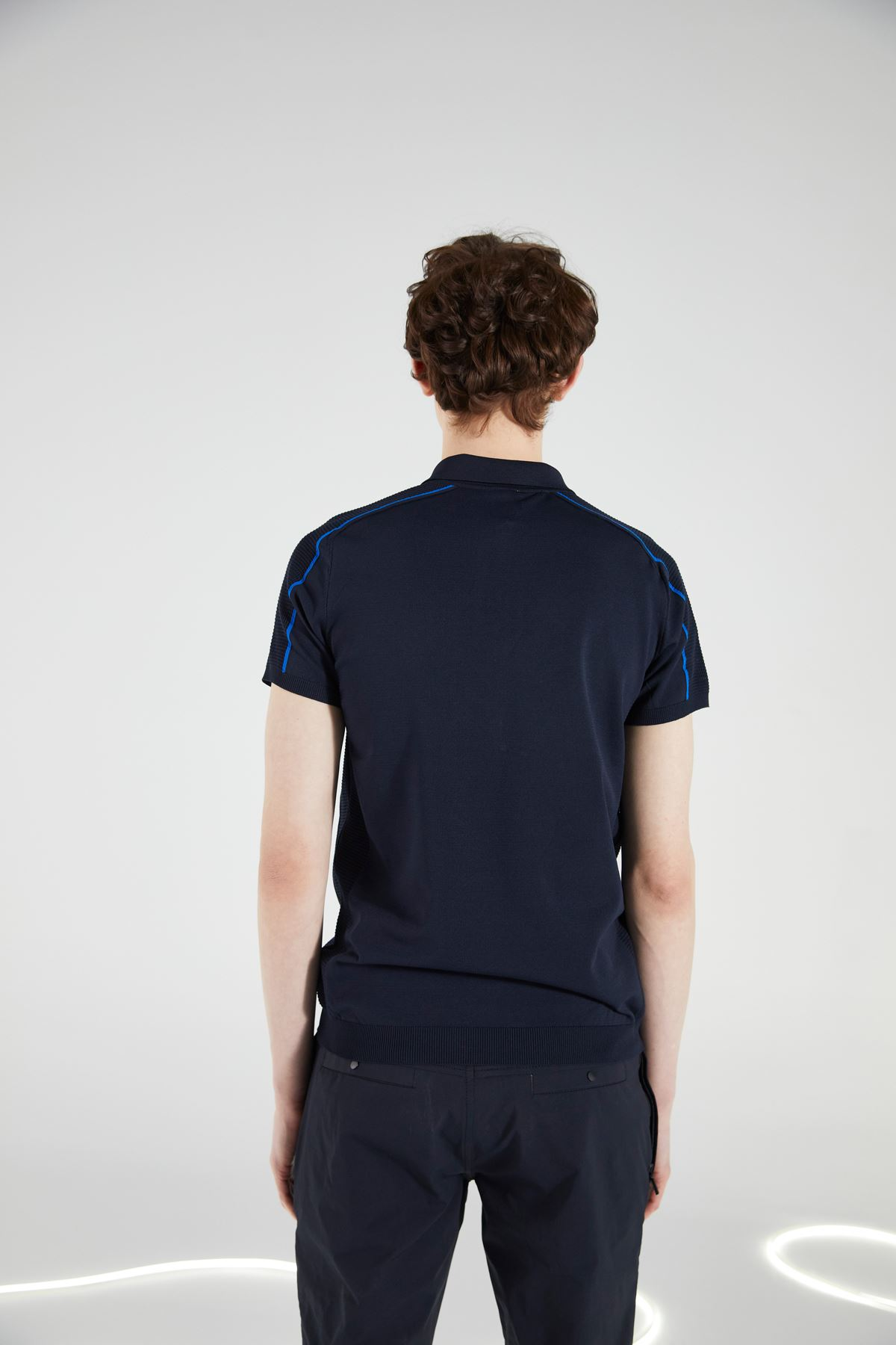 Lacivert Polo Yaka Triko Kısa Kol Tshirt