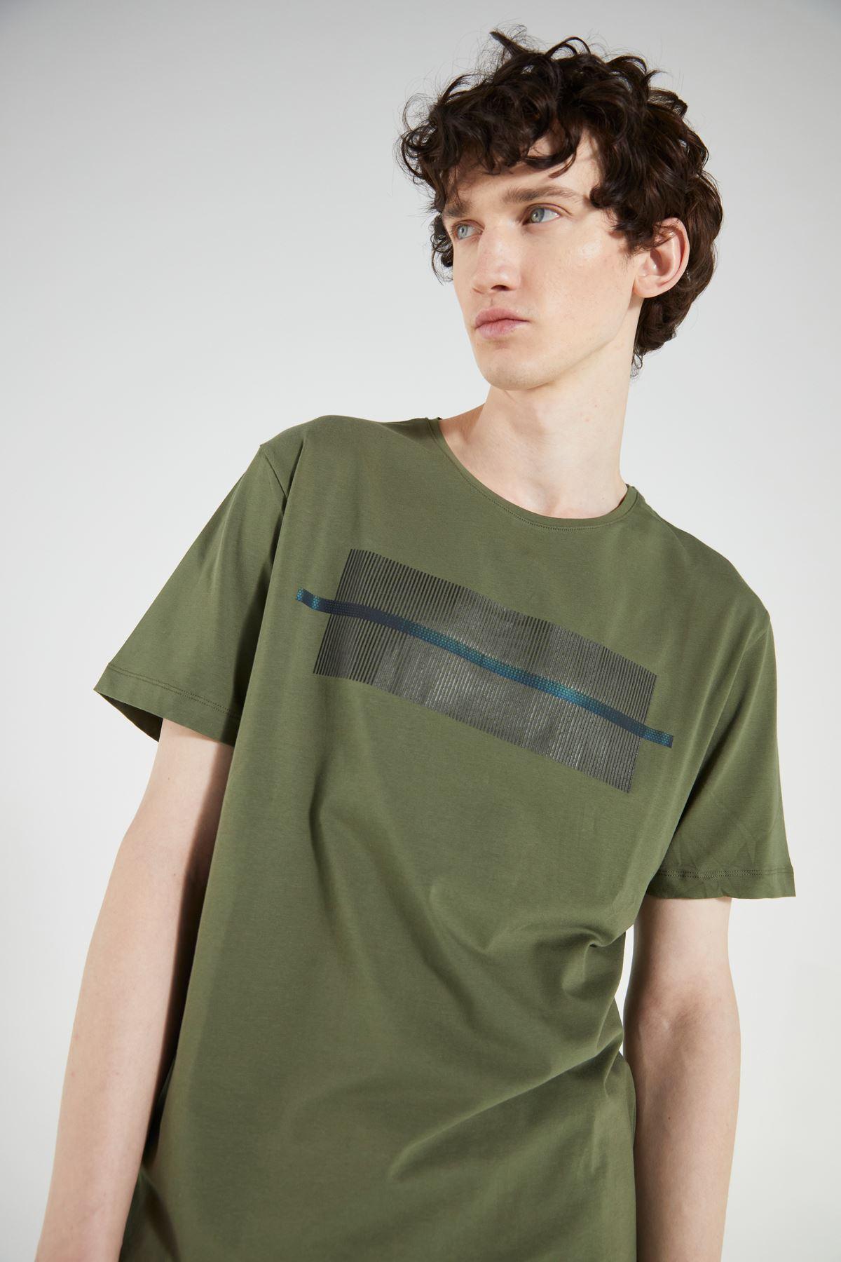 Haki Bisiklet Yaka Baskılı Kısa Kol Tshirt