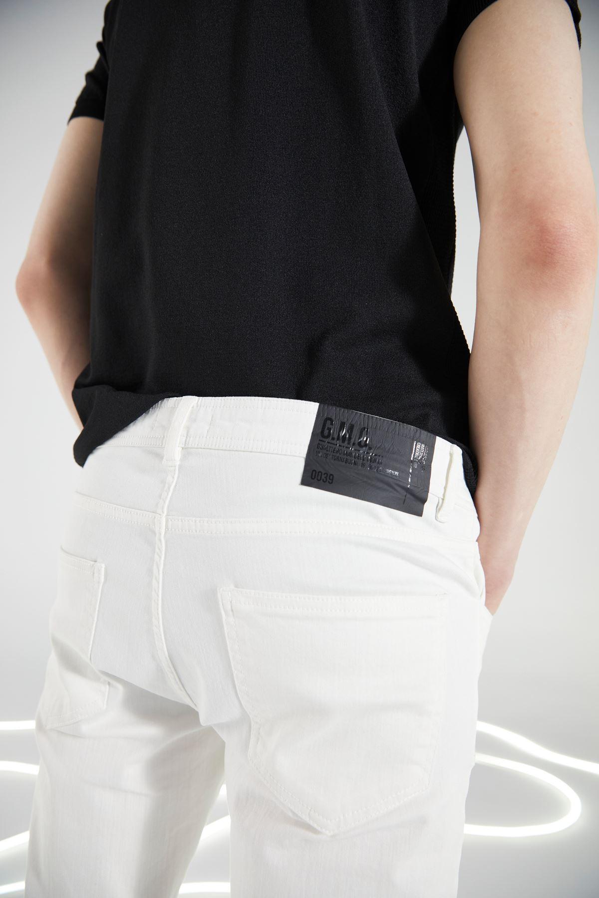 Beyaz 5 Cep Likralı Canvas Pantolon