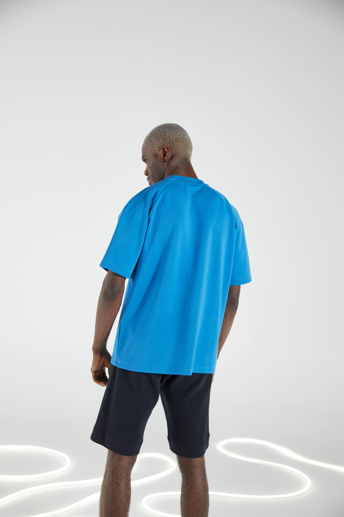 Sax Bisiklet Yaka Kısakol Oversize Tshirt