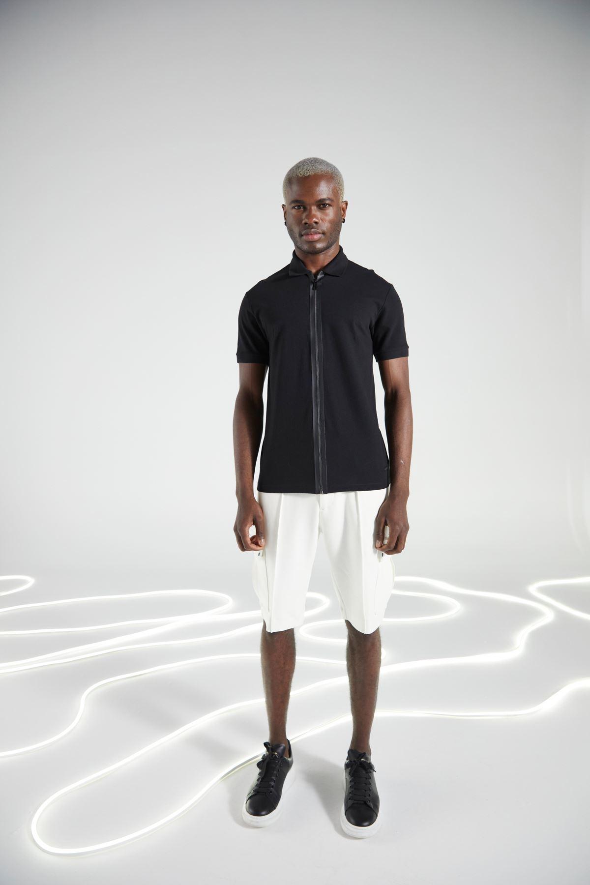 Siyah Gömlek Yaka Fermuarlı Kısakol Tshirt