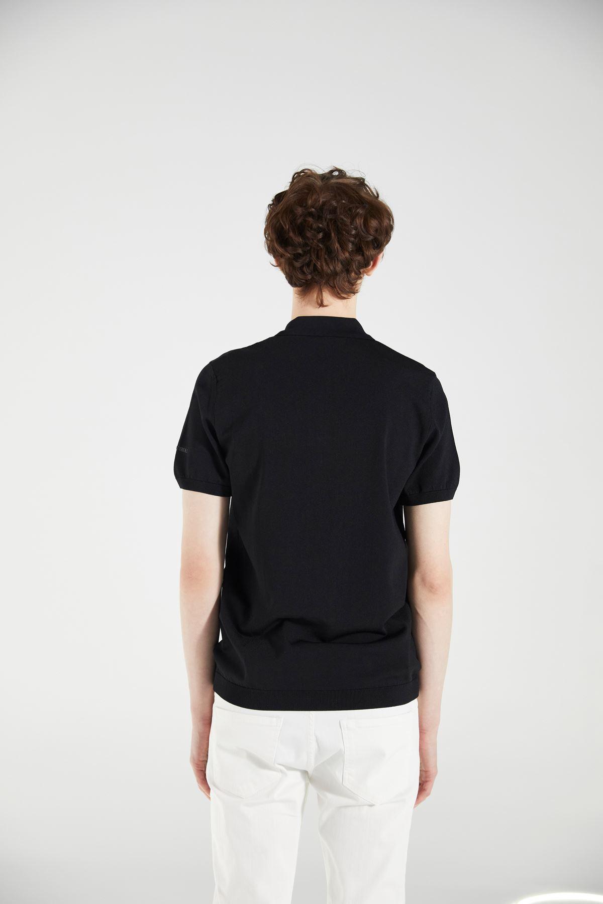 Siyah Polo Yaka Kısakol Triko Tshirt
