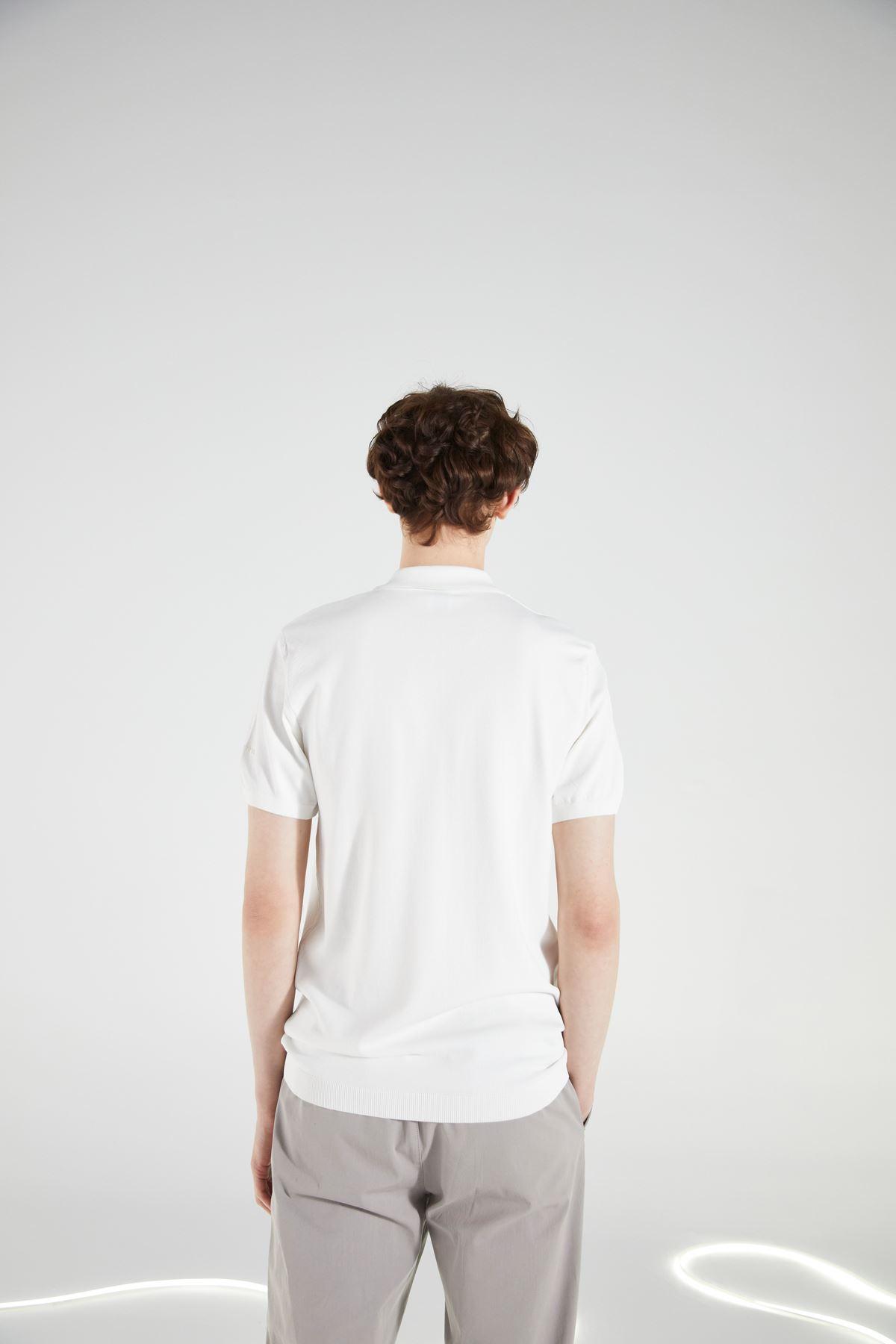 Ekru Polo Yaka Kısakol Triko Tshirt