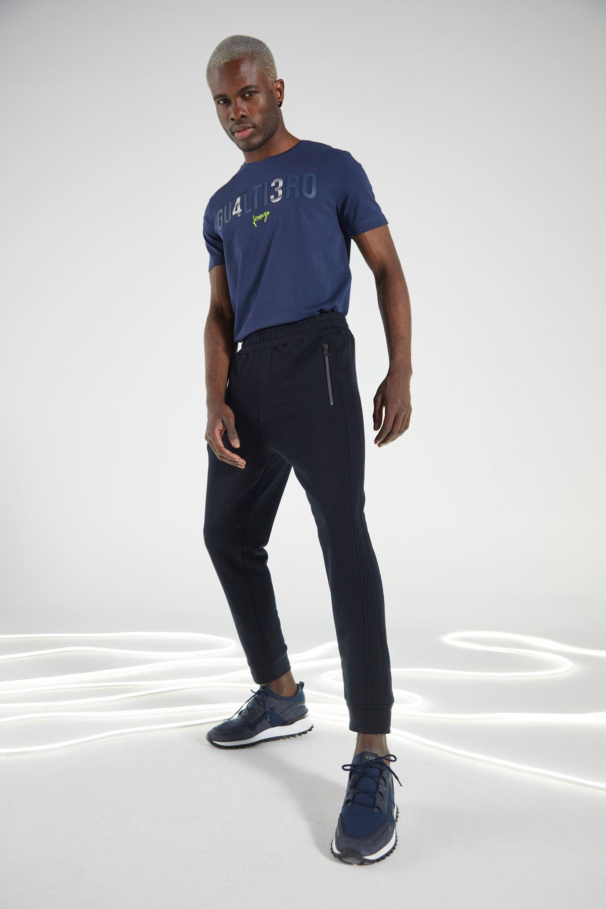 Siyah Beli Lastikli Eşofman Altı Jogger Pantolon