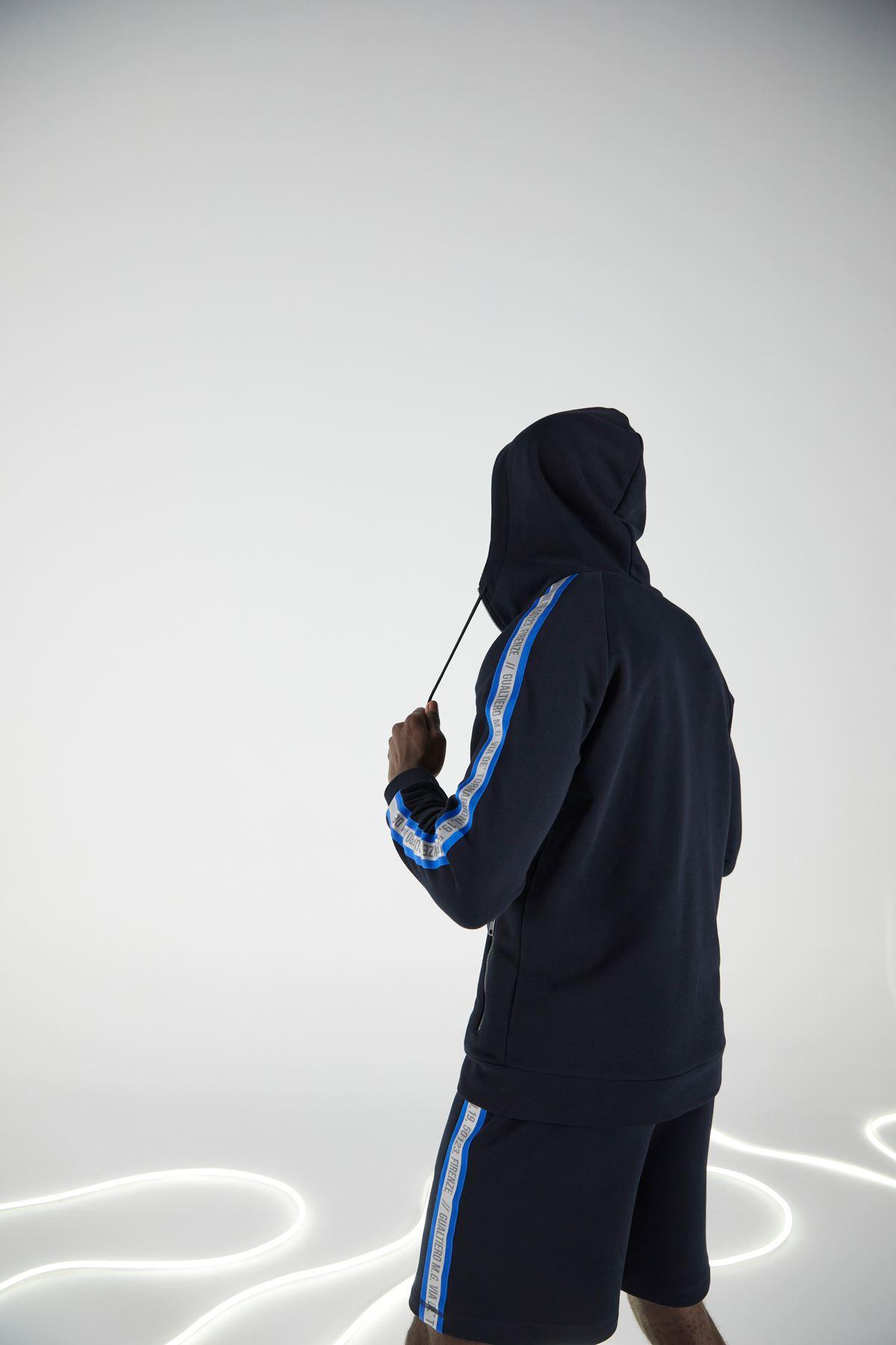 Lacivert Kapüşonlu Fermuarlı Eşofman Üstü Sweatshirt