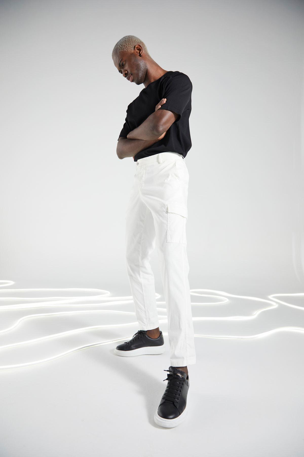 Beyaz Kargo Cep Pantolon