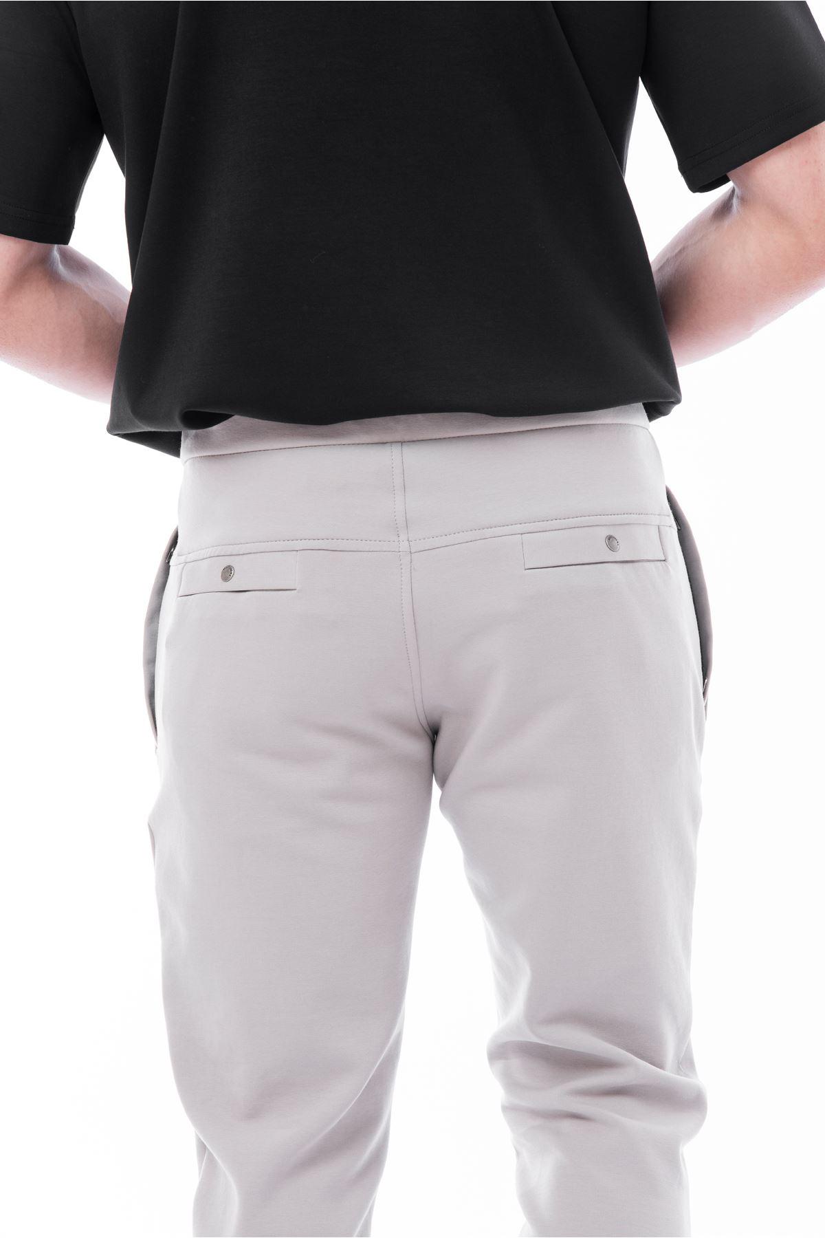 Gri Paça Lastikli Cepli Eşofman Altı Jogger Pantolon