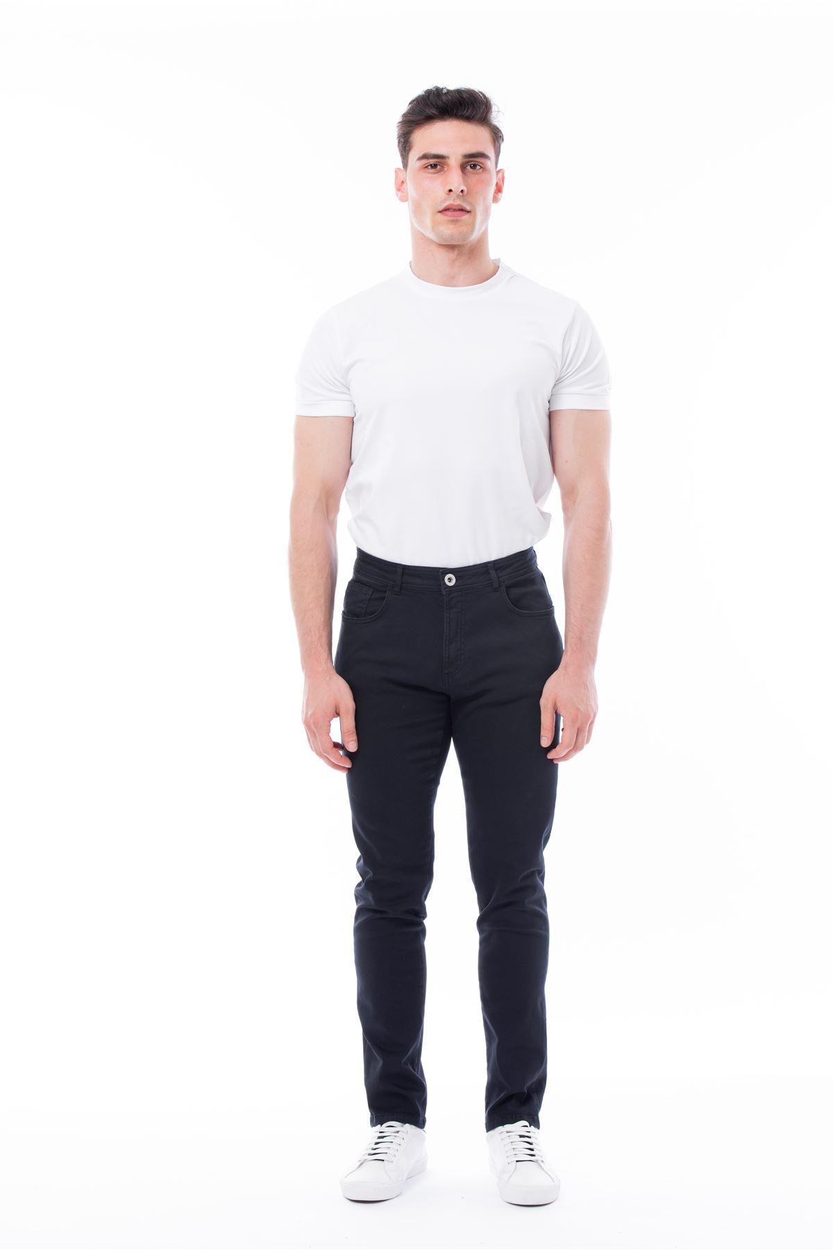 Lacivert 5 Cep Likralı Canvas Pantolon