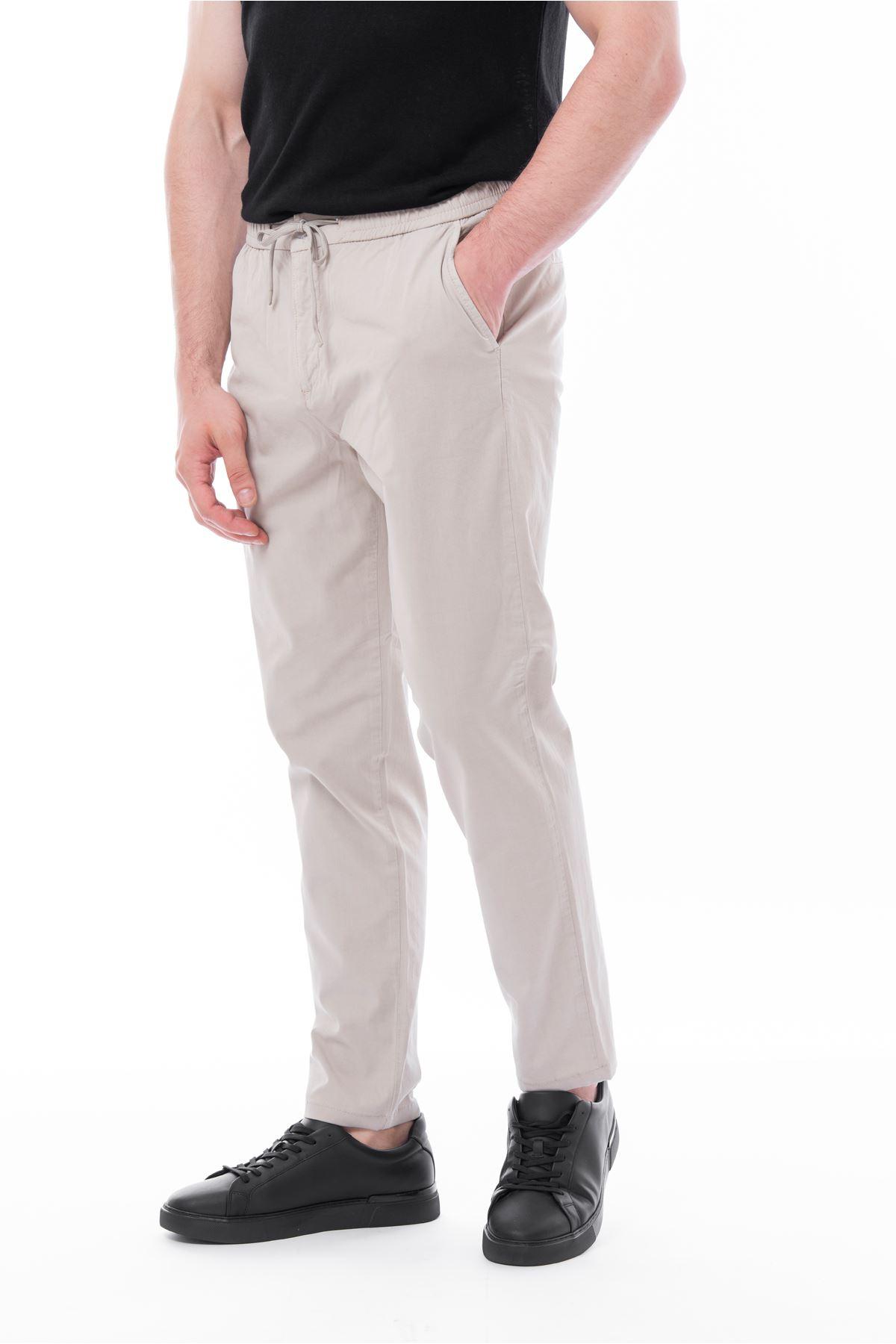 Bej Beli Lastikli Bağcıklı Jogger Pantolon