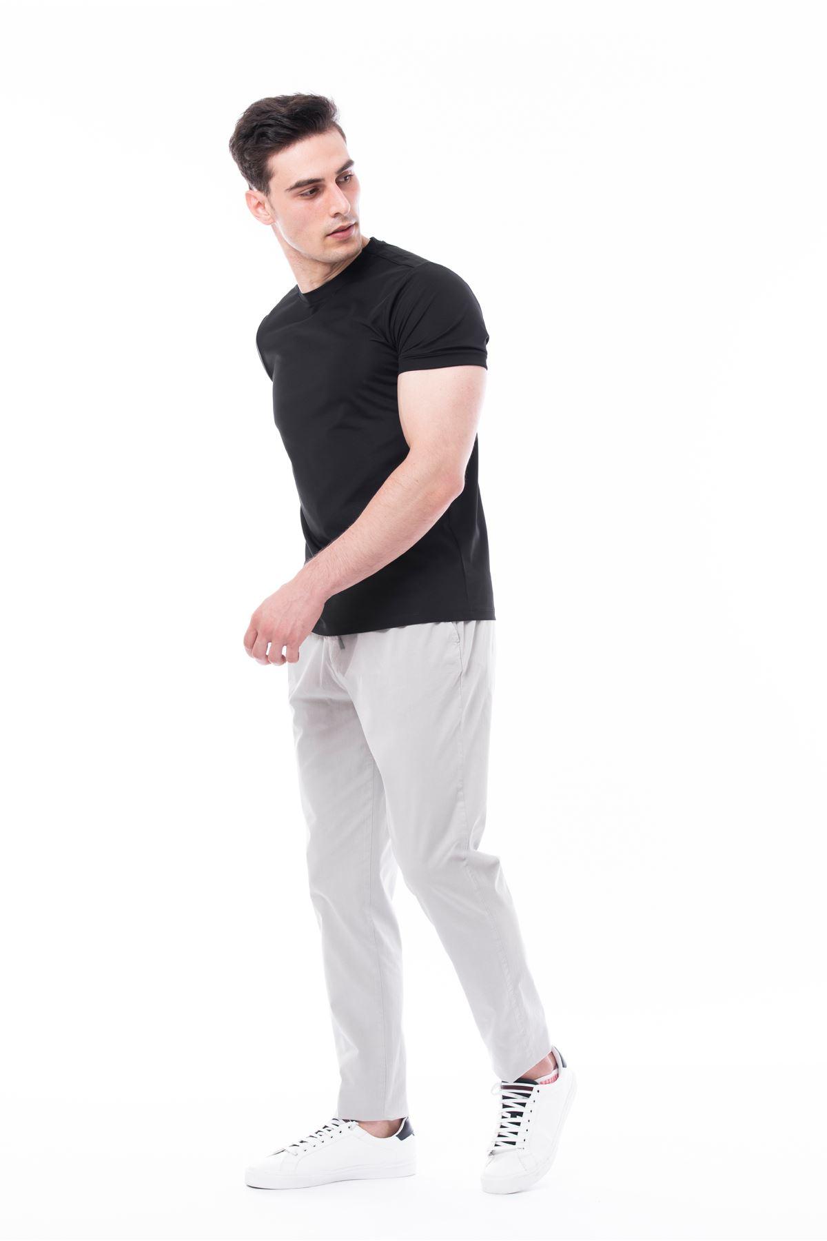 Gri Beli Lastikli Bağcıklı Jogger Pantolon