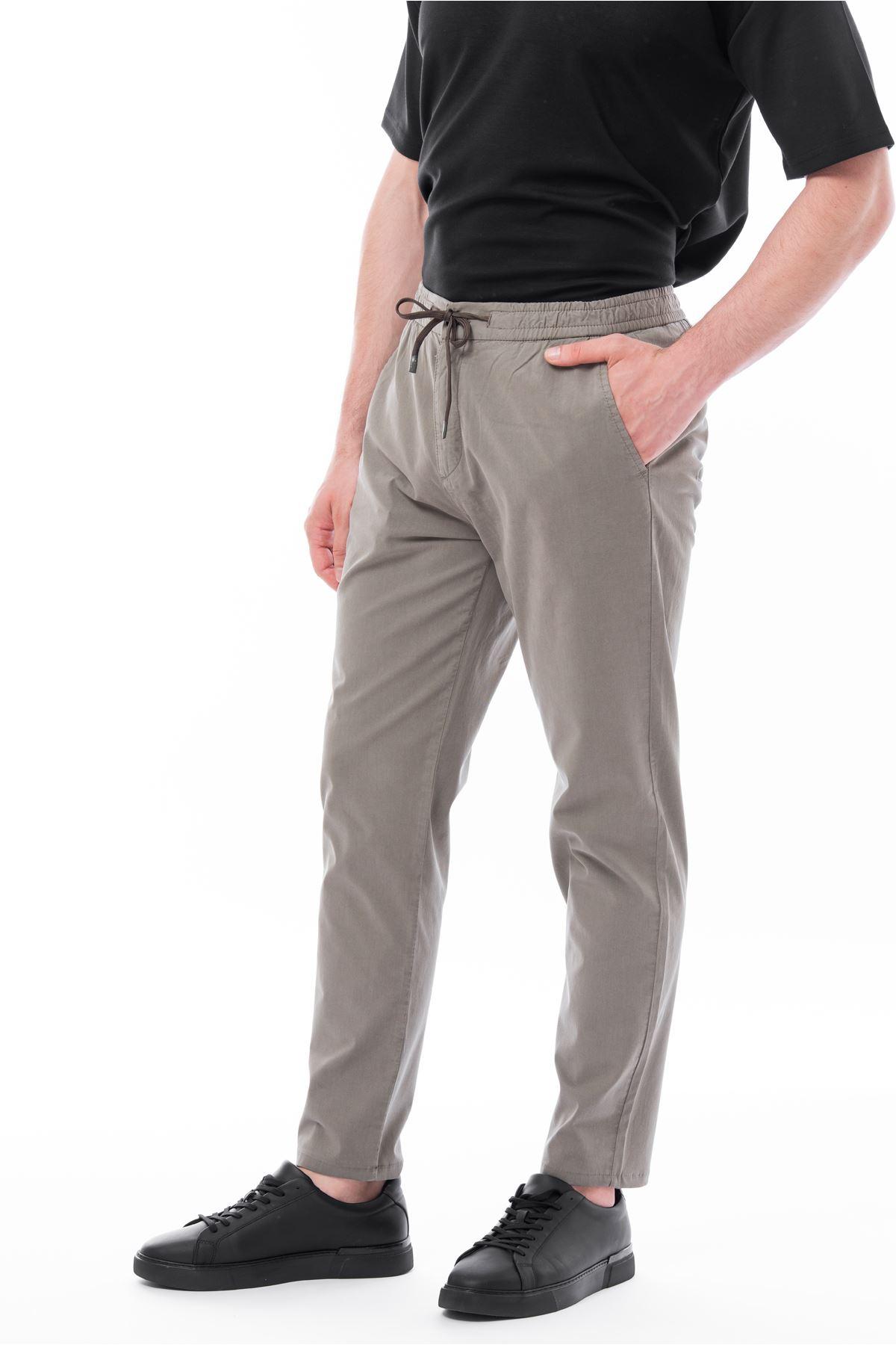 Haki Beli Lastikli Bağcıklı Jogger Pantolon