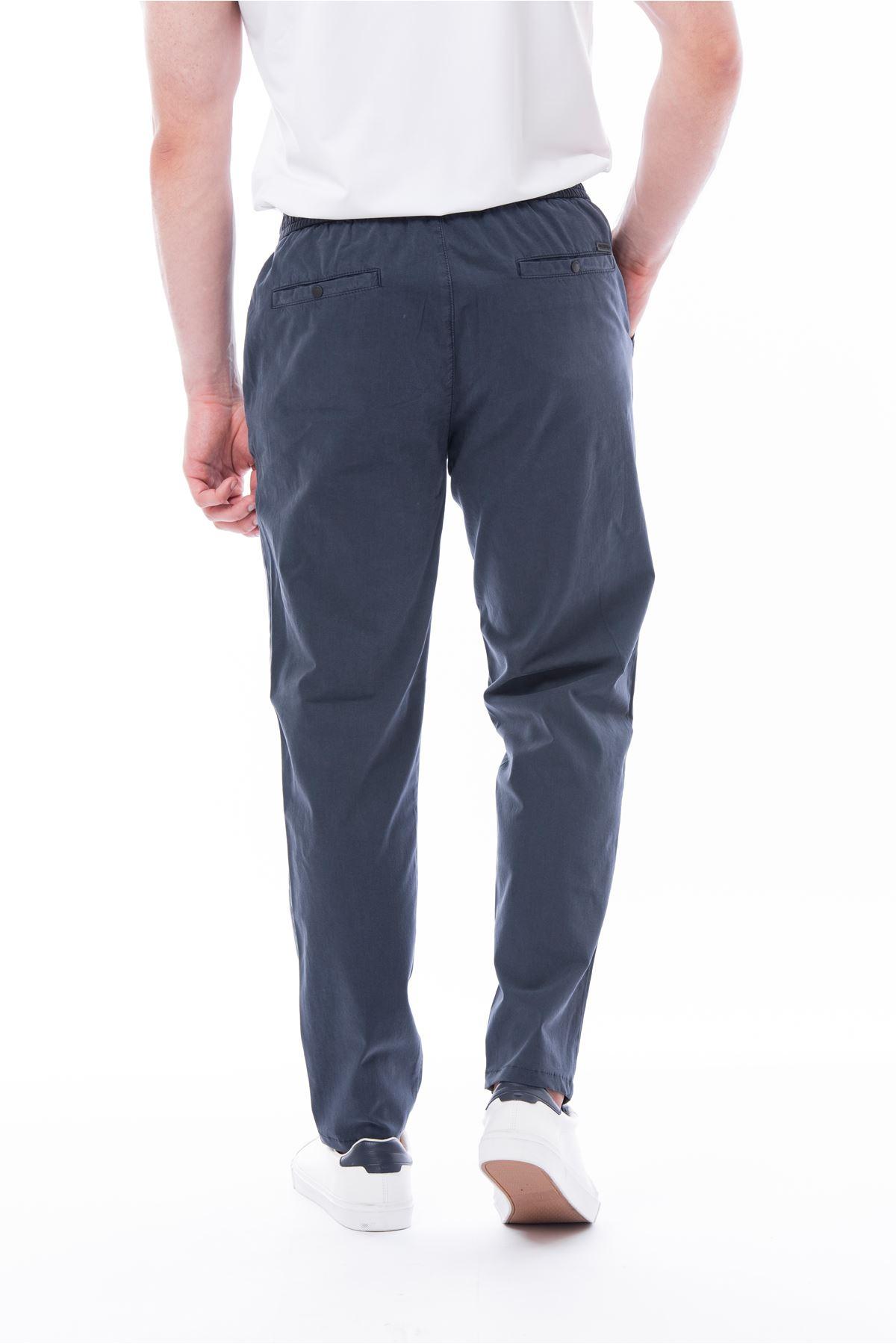 İndigo Beli Lastikli Bağcıklı Jogger Pantolon