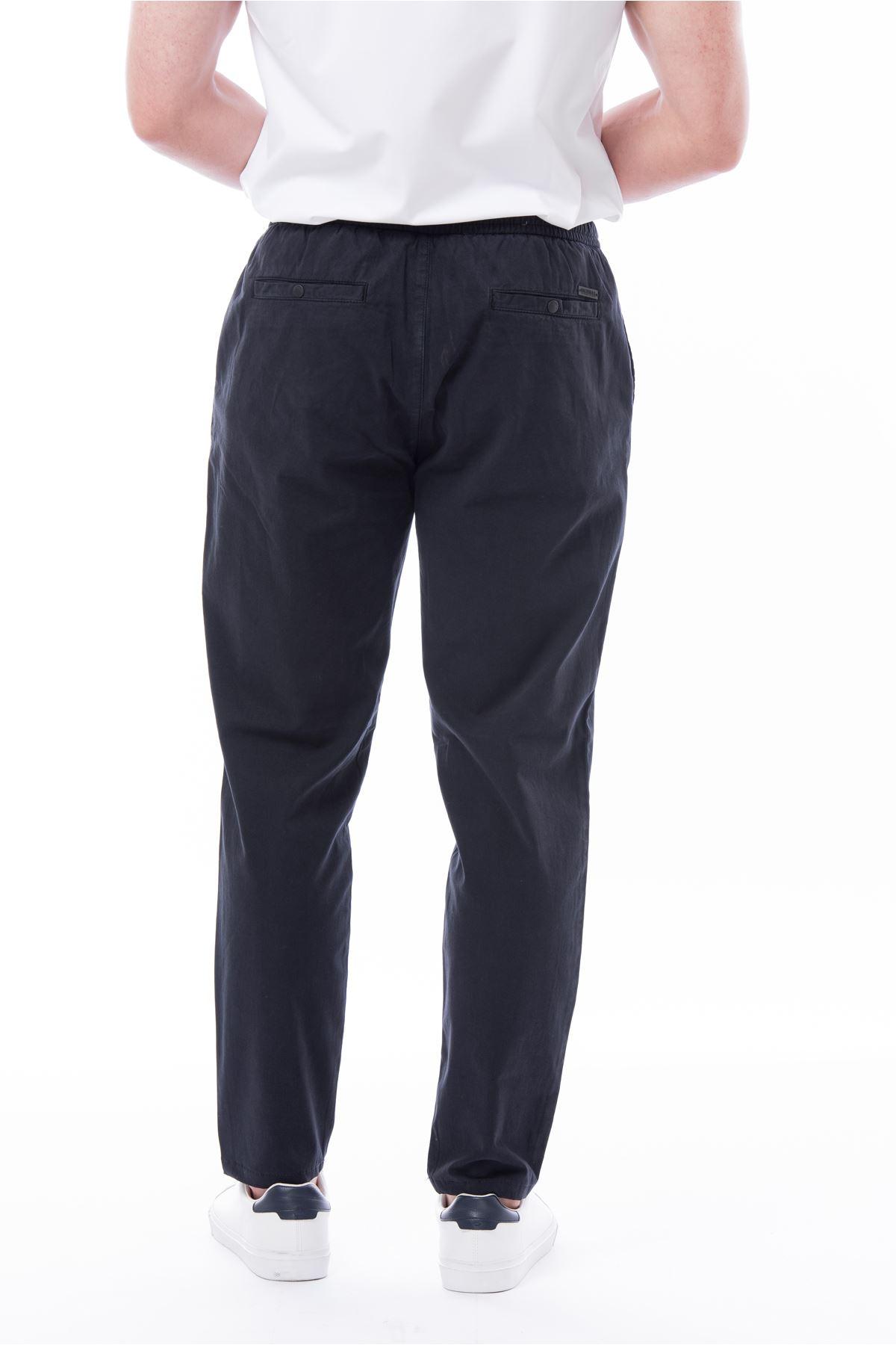 Lacivert Beli Lastikli Bağcıklı Jogger Pantolon