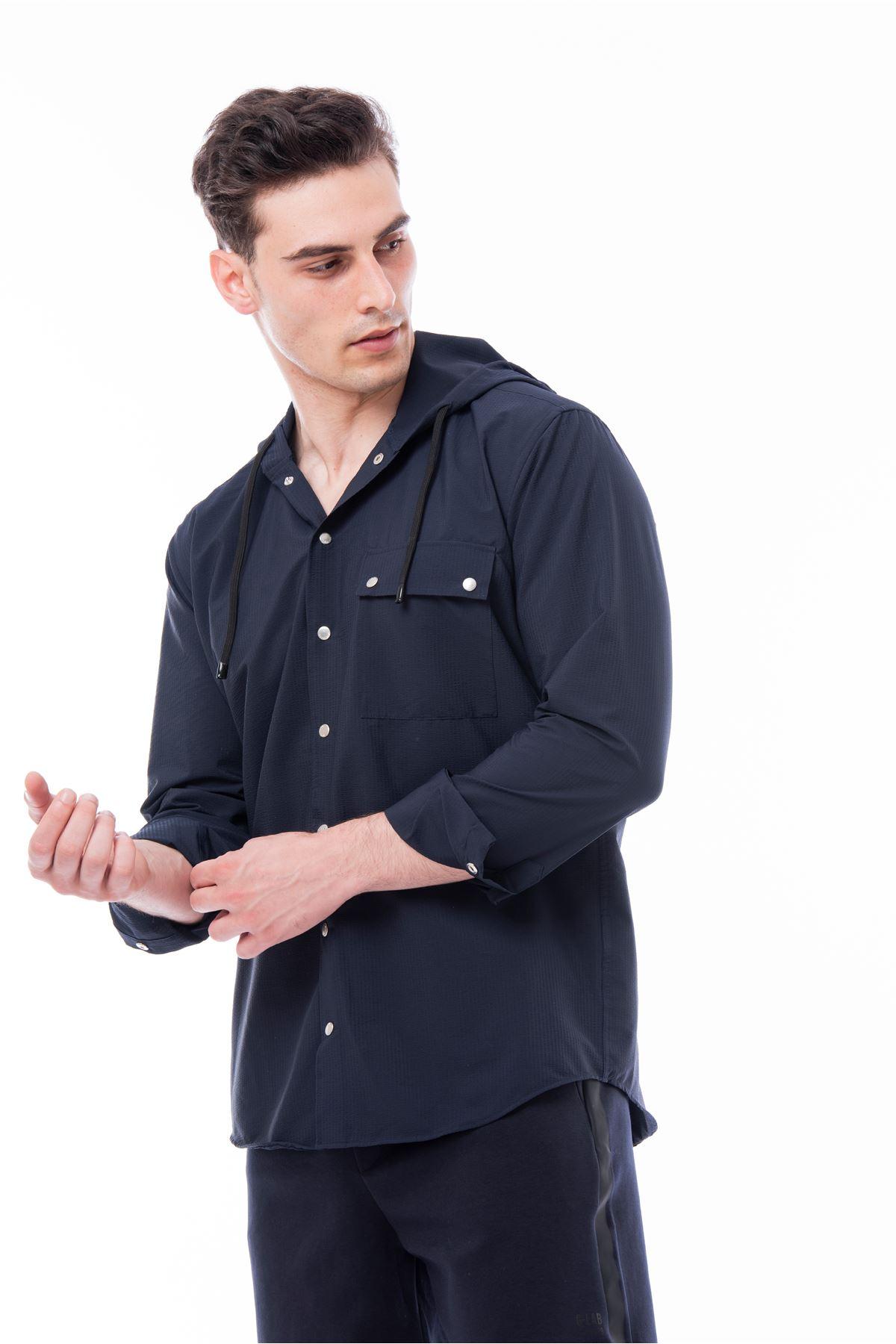 Lacivert Kapüşonlu Çıt Çıtlı Spor Gömlek