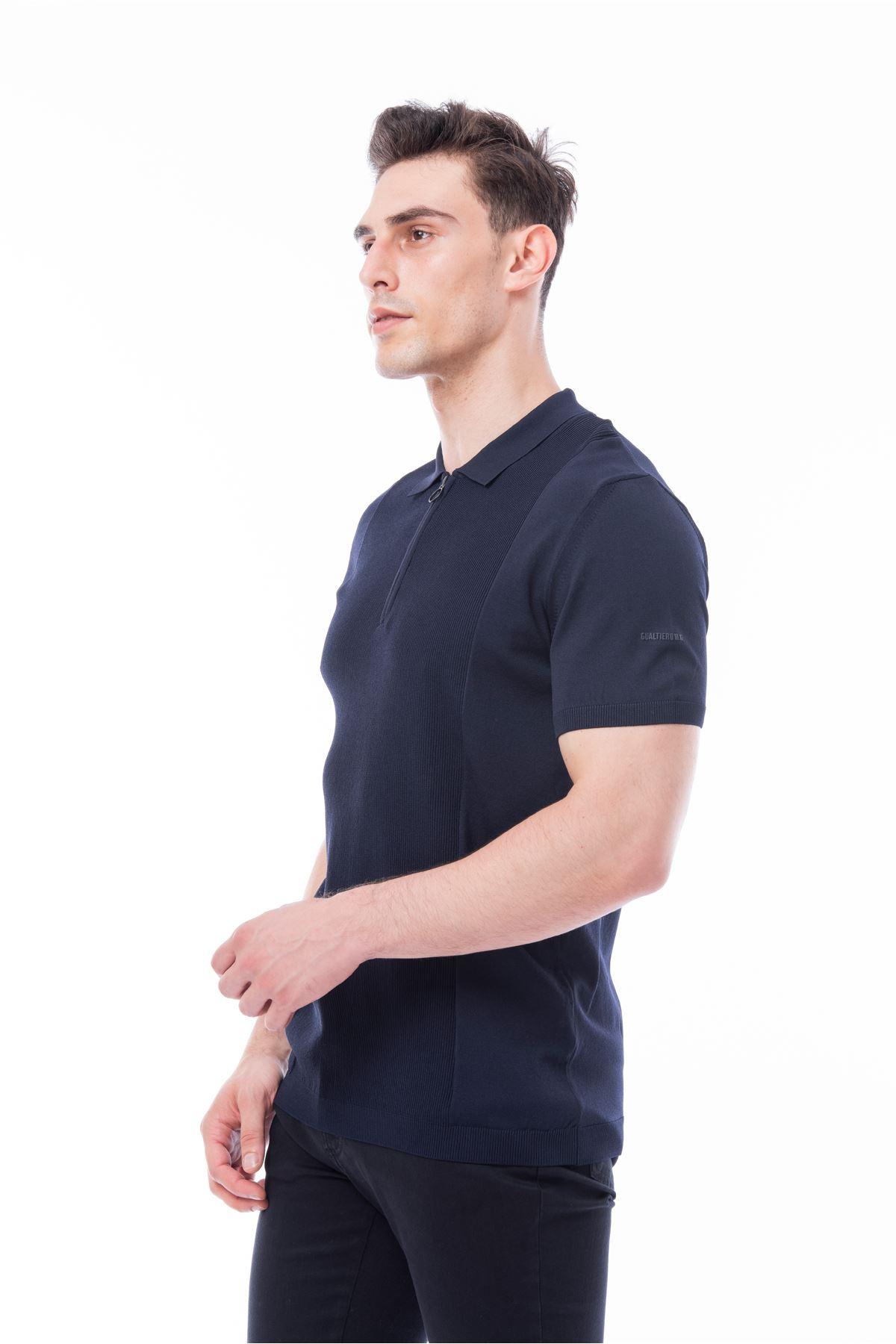 Lacivert Polo Yaka Kısa Kol Triko Tshirt