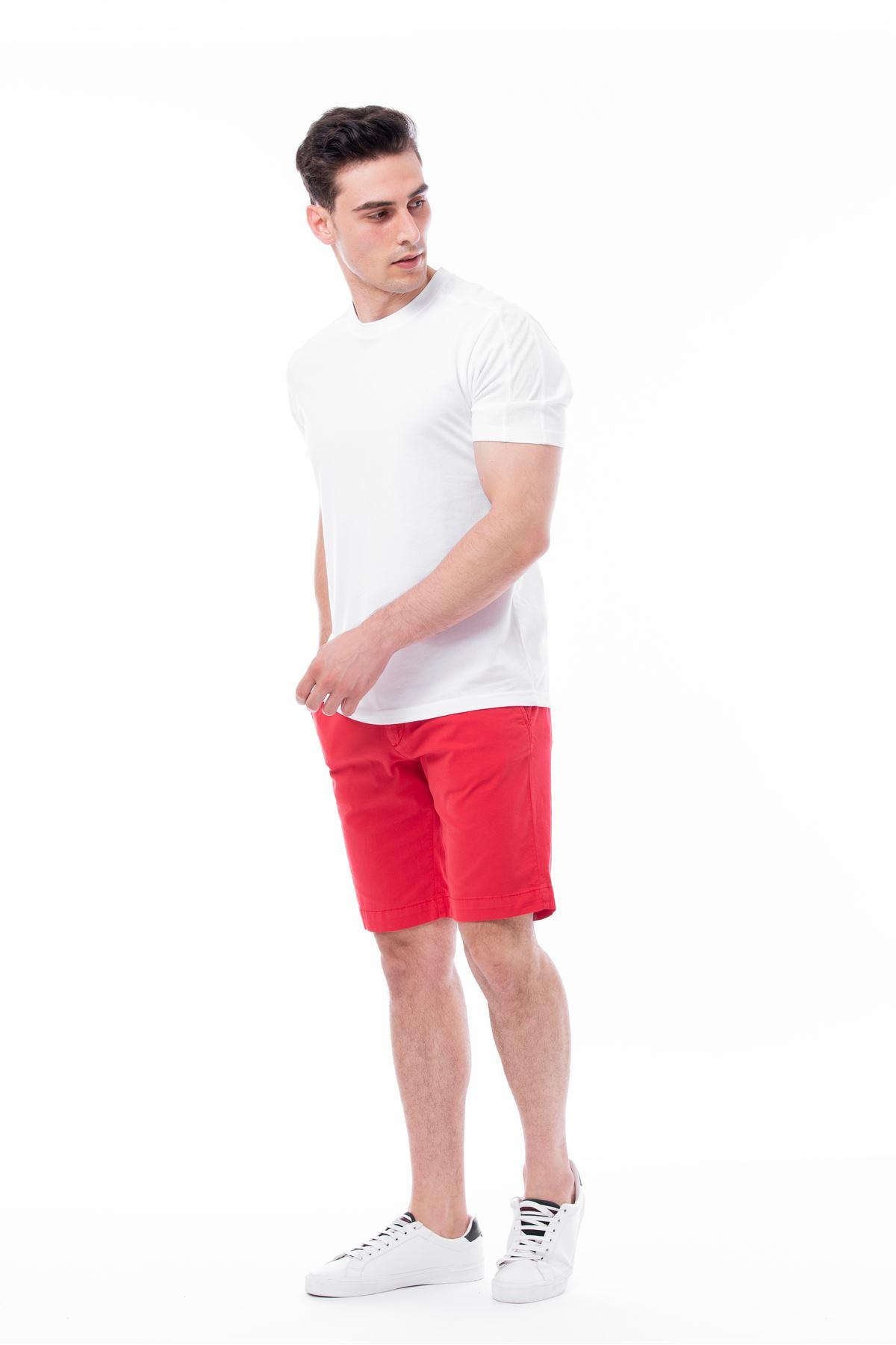 Kırmızı Parça Boya Chino Şort